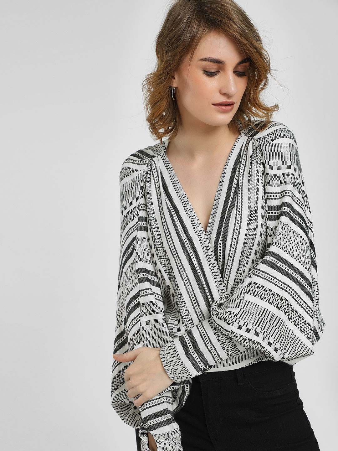 KOOVS WHITE/BLACK Monochrome Wrap Blouse 1
