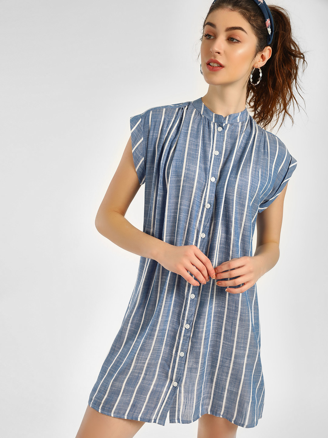 KOOVS Light Blue Button Through Striped Shirt Dress 1