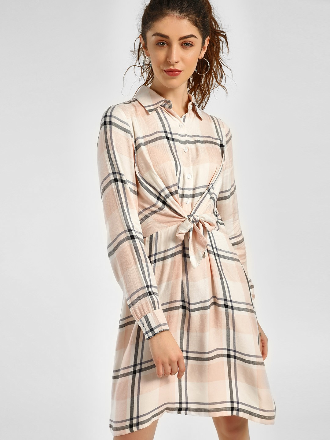 KOOVS OFFWHITE Check Mini Shirt Dress 1