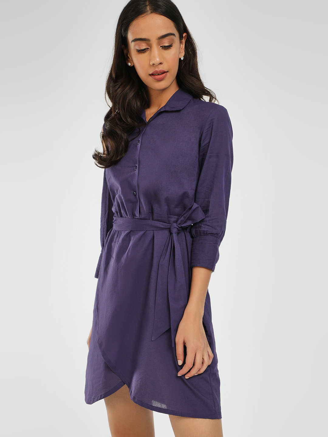 KOOVS Navy Cold Shoulder Shirt Dress 1