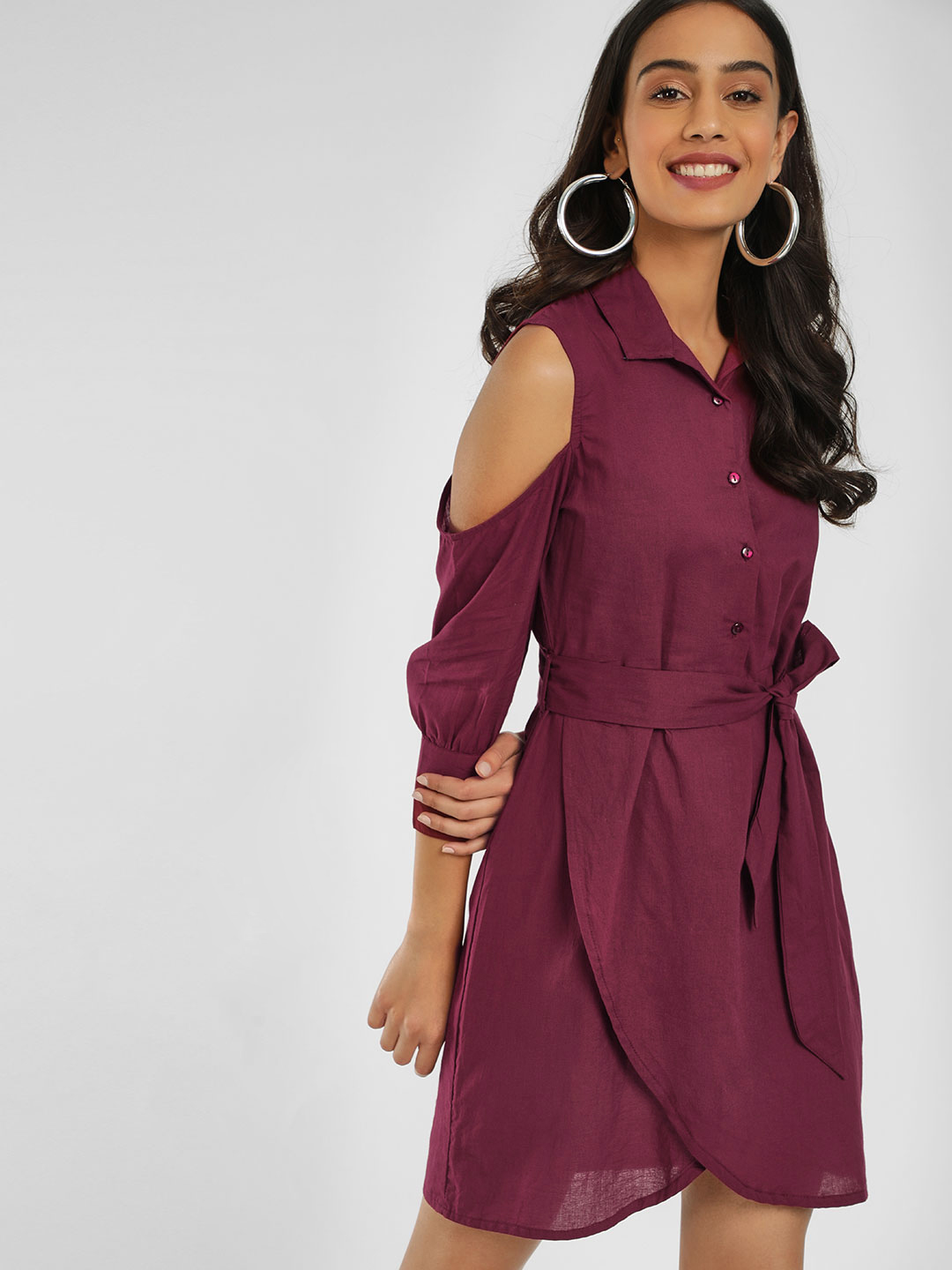 KOOVS Port Cold Shoulder Shirt Dress 1