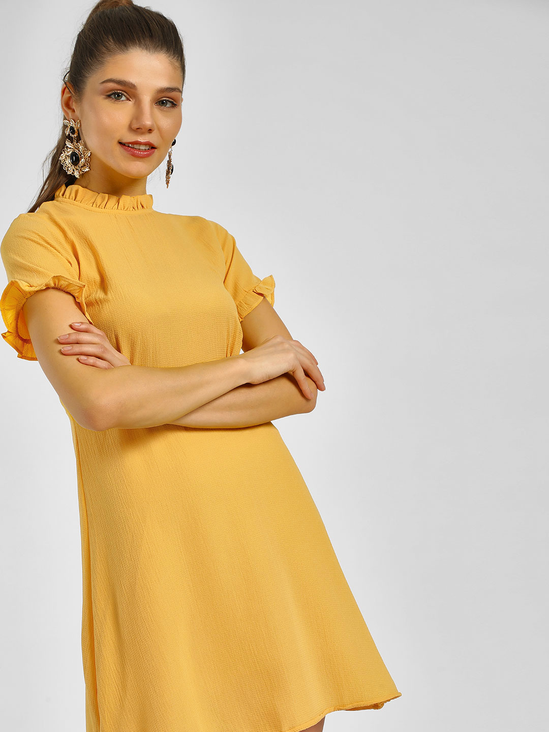 KOOVS Yellow Mandarin Collar Shift Dress 1