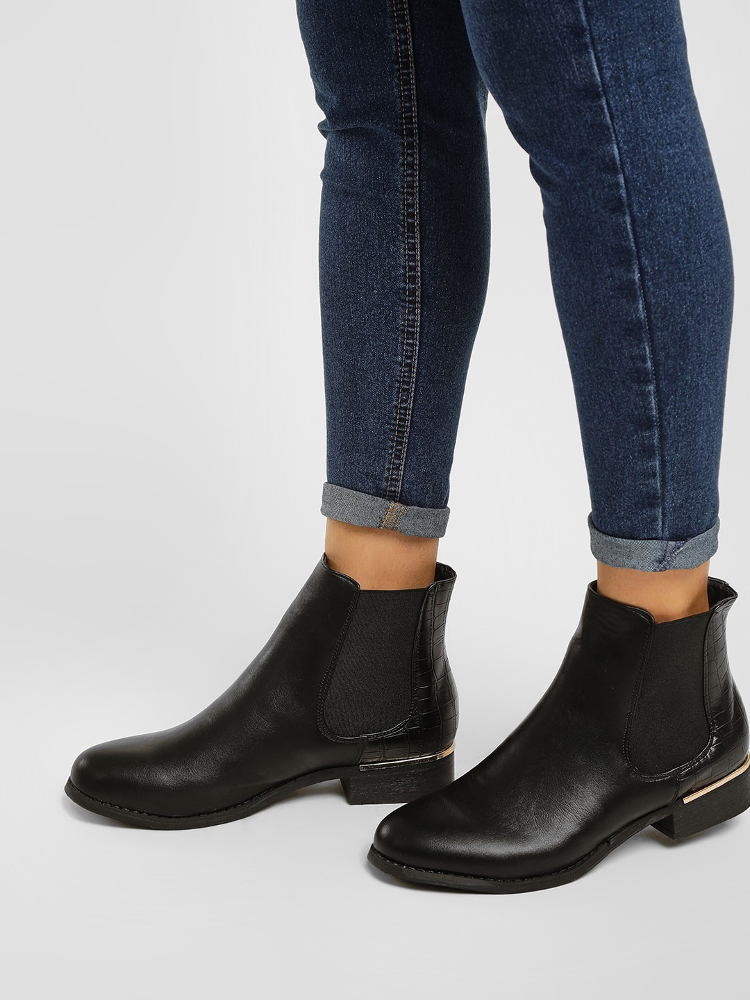 Truffle Collection Black Textured Tab Ankle Heeled Boots 1