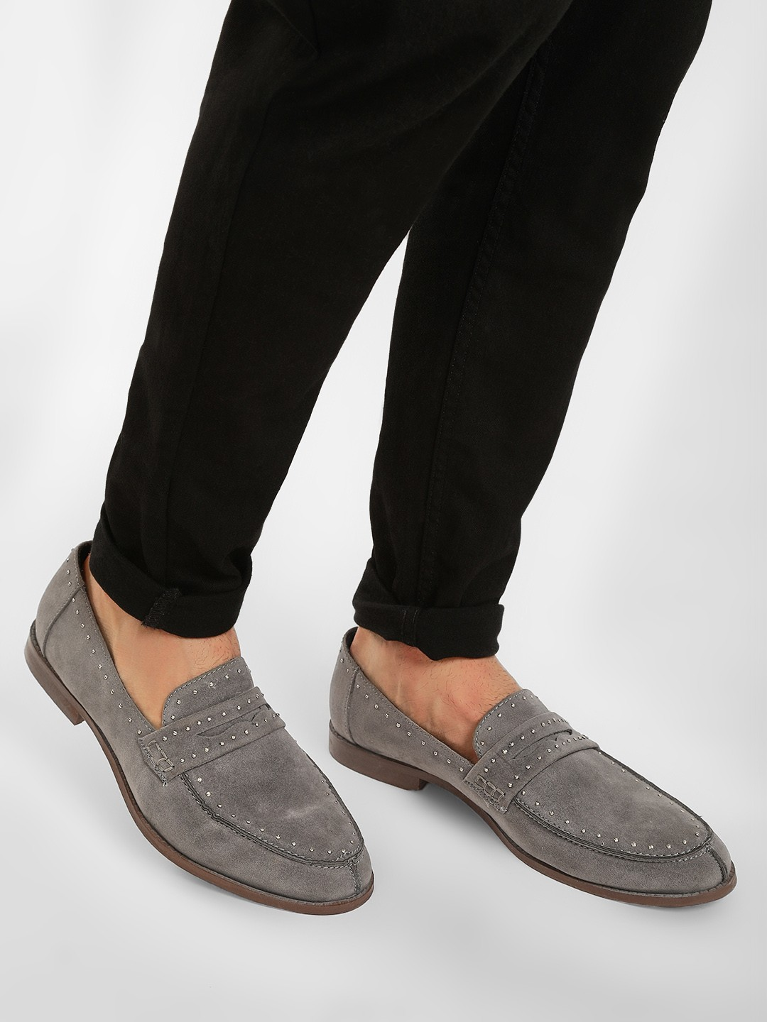 KOOVS Grey Suede Studded Loafers 1