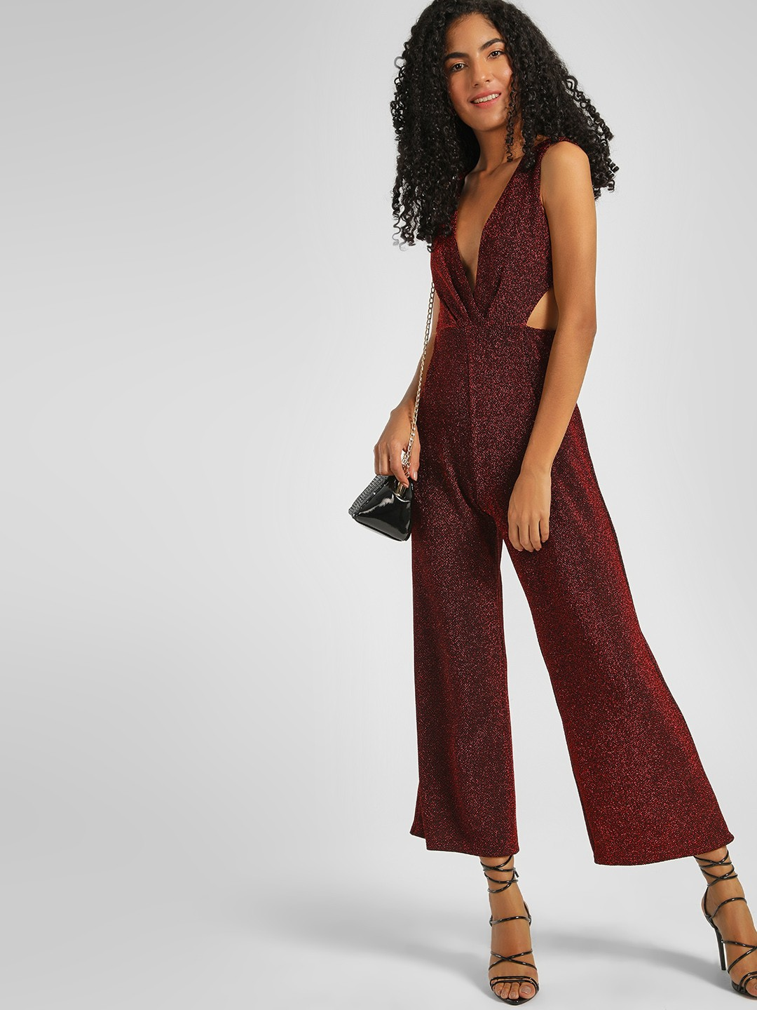 KOOVS Red Shimmer Cut-Out Cropped Jumpsuit 1