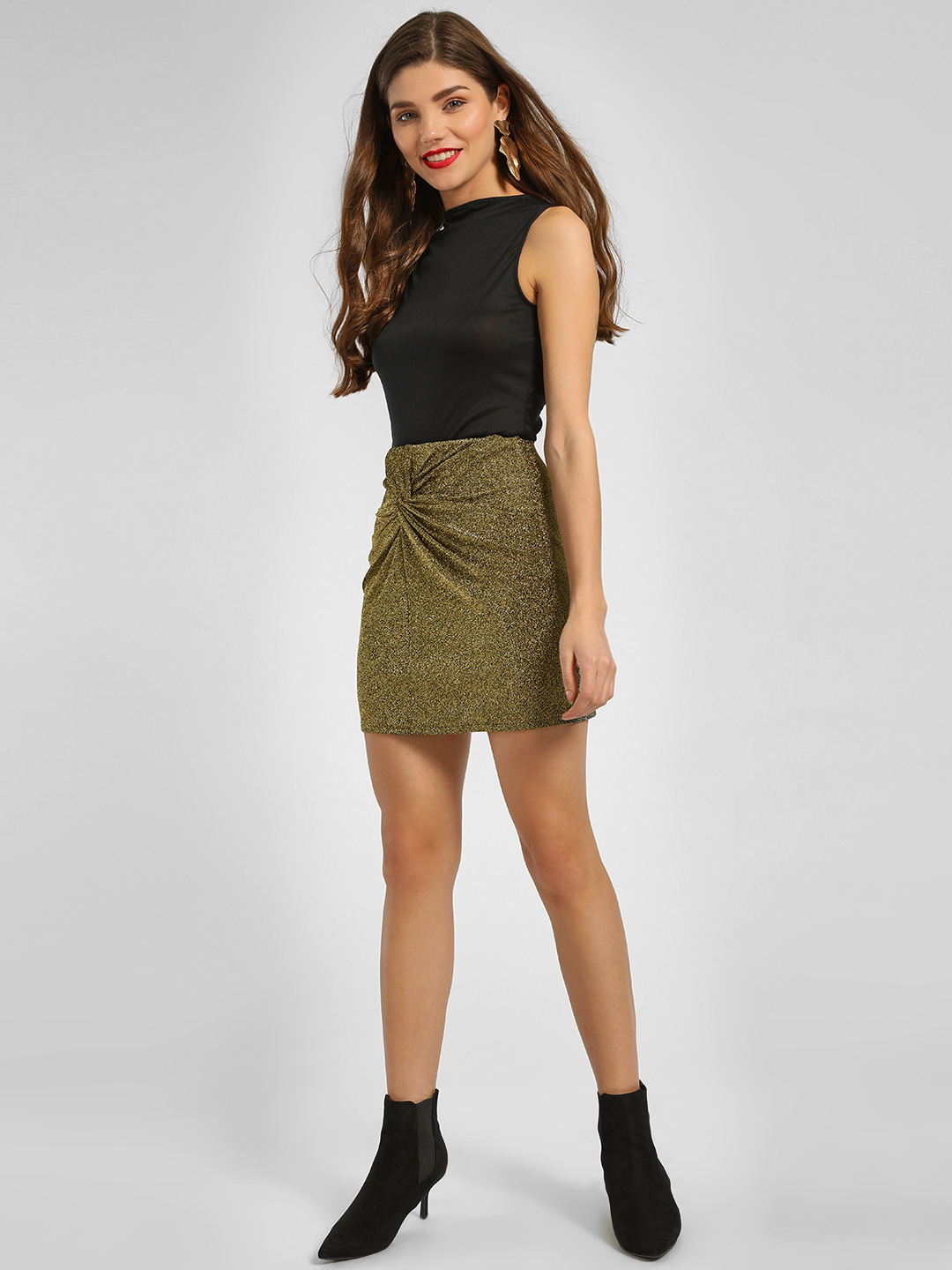 KOOVS Gold Glitter Twist Knot Mini Skirt 1