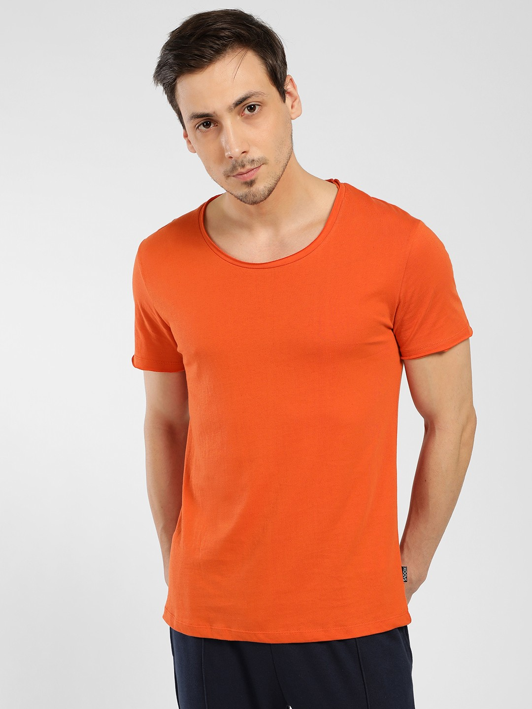 KOOVS Orange Basic Scoop Neck T-Shirt 1