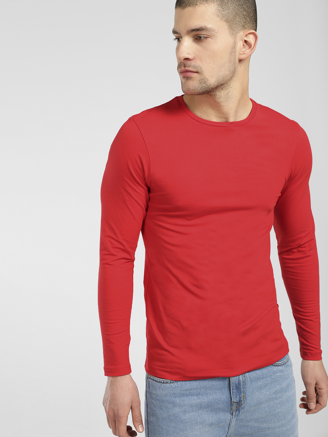 KOOVS Red Basic Muscle Fit T-Shirt 1