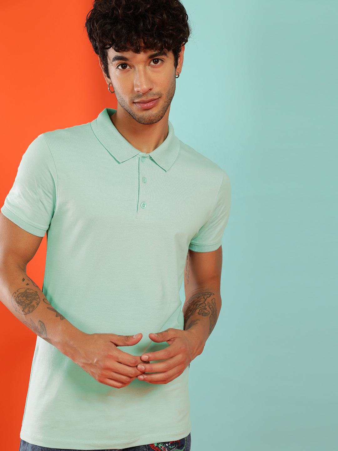 KOOVS Mint Green Basic Muscle Fit Jersey Polo Shirt 1