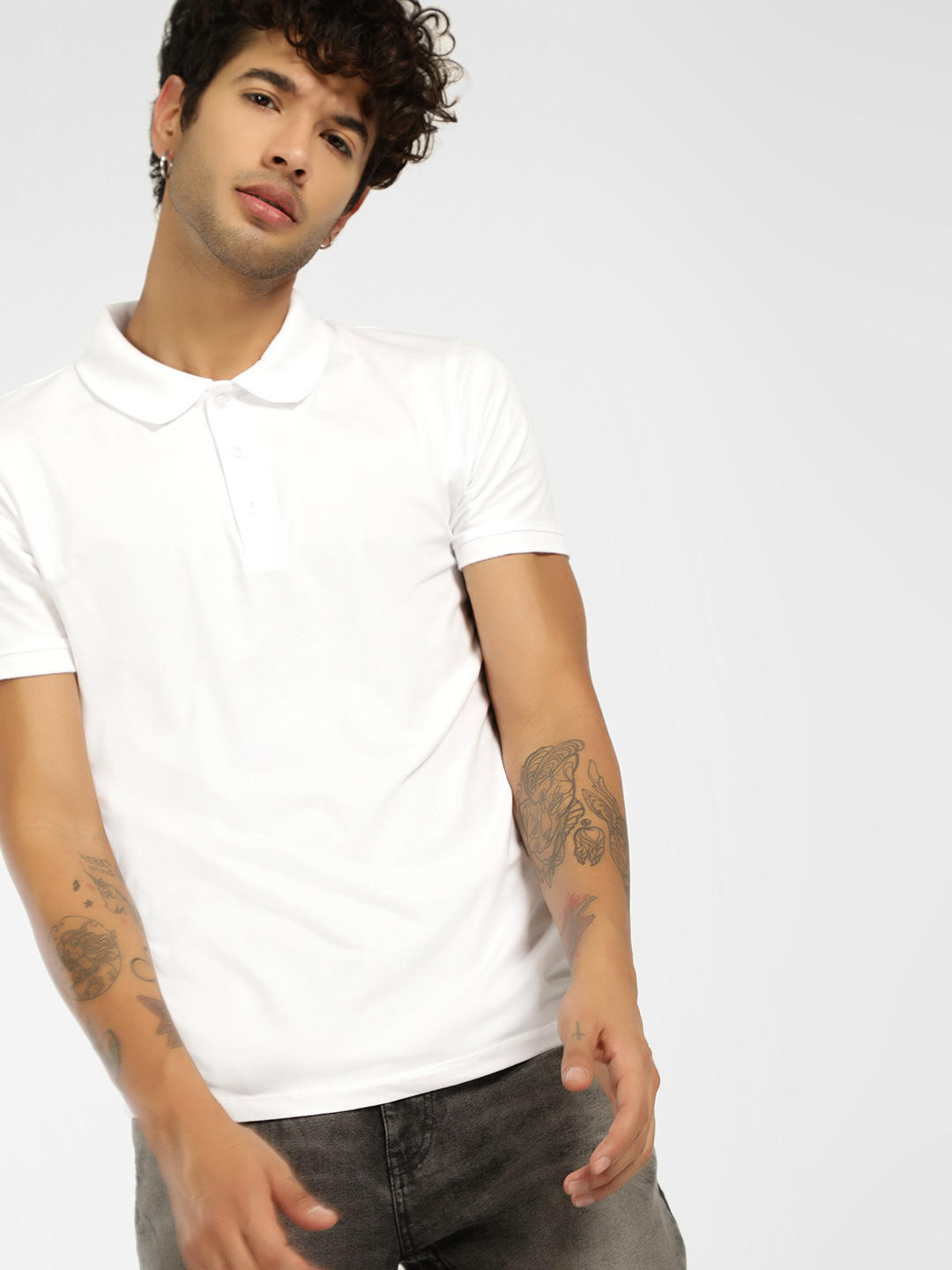 KOOVS White Basic Muscle Fit Jersey Polo Shirt 1