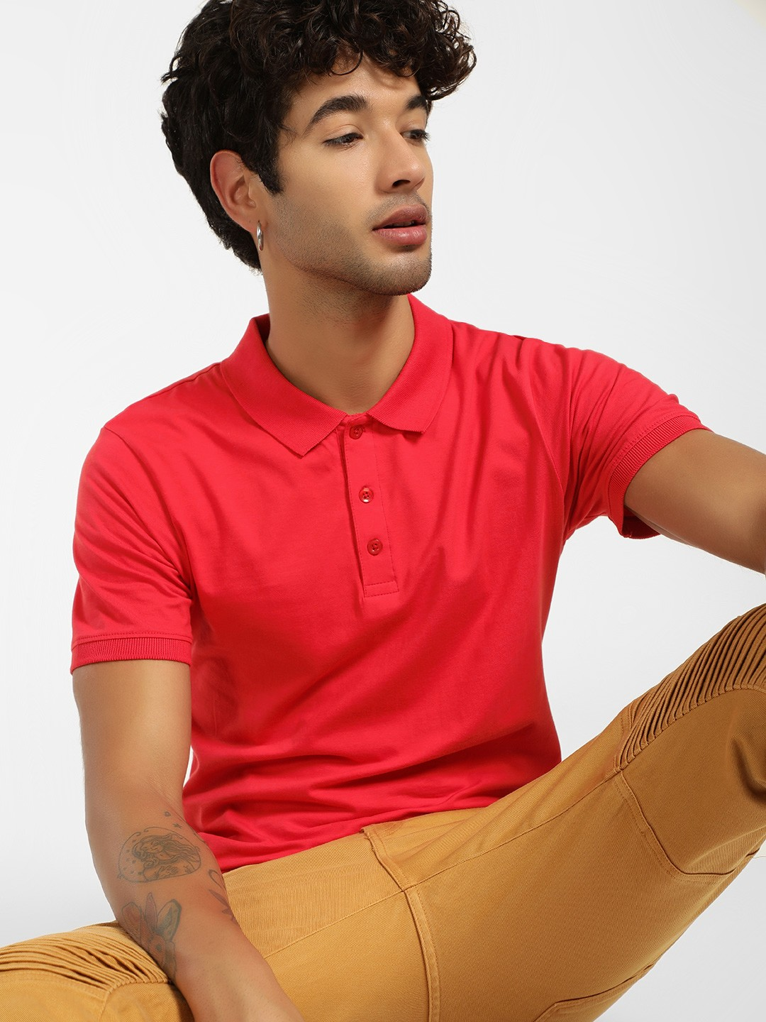 KOOVS Red Basic Muscle Fit Jersey Polo Shirt 1
