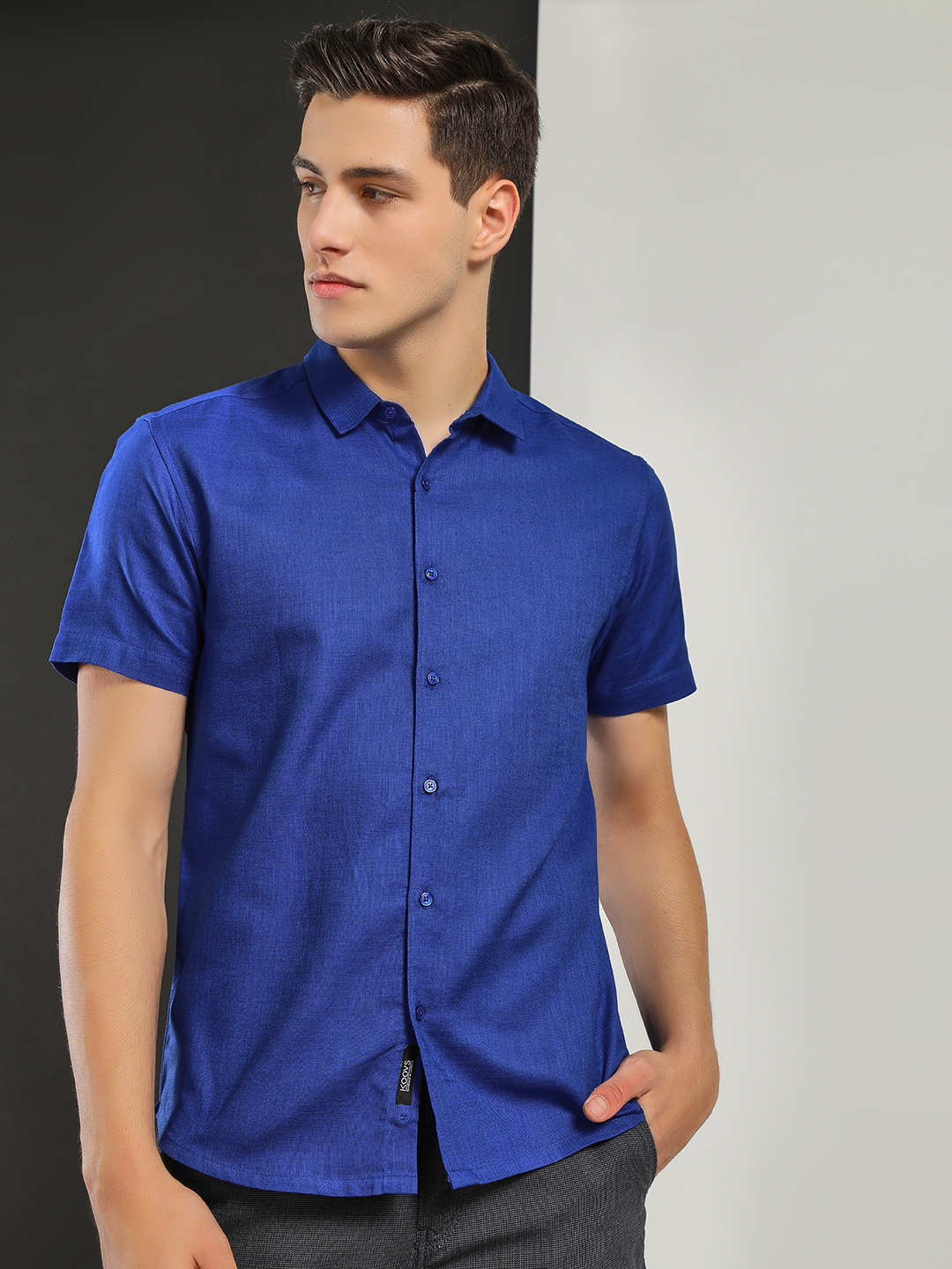 KOOVS Royal Blue Linen Blend Slim Shirt 1