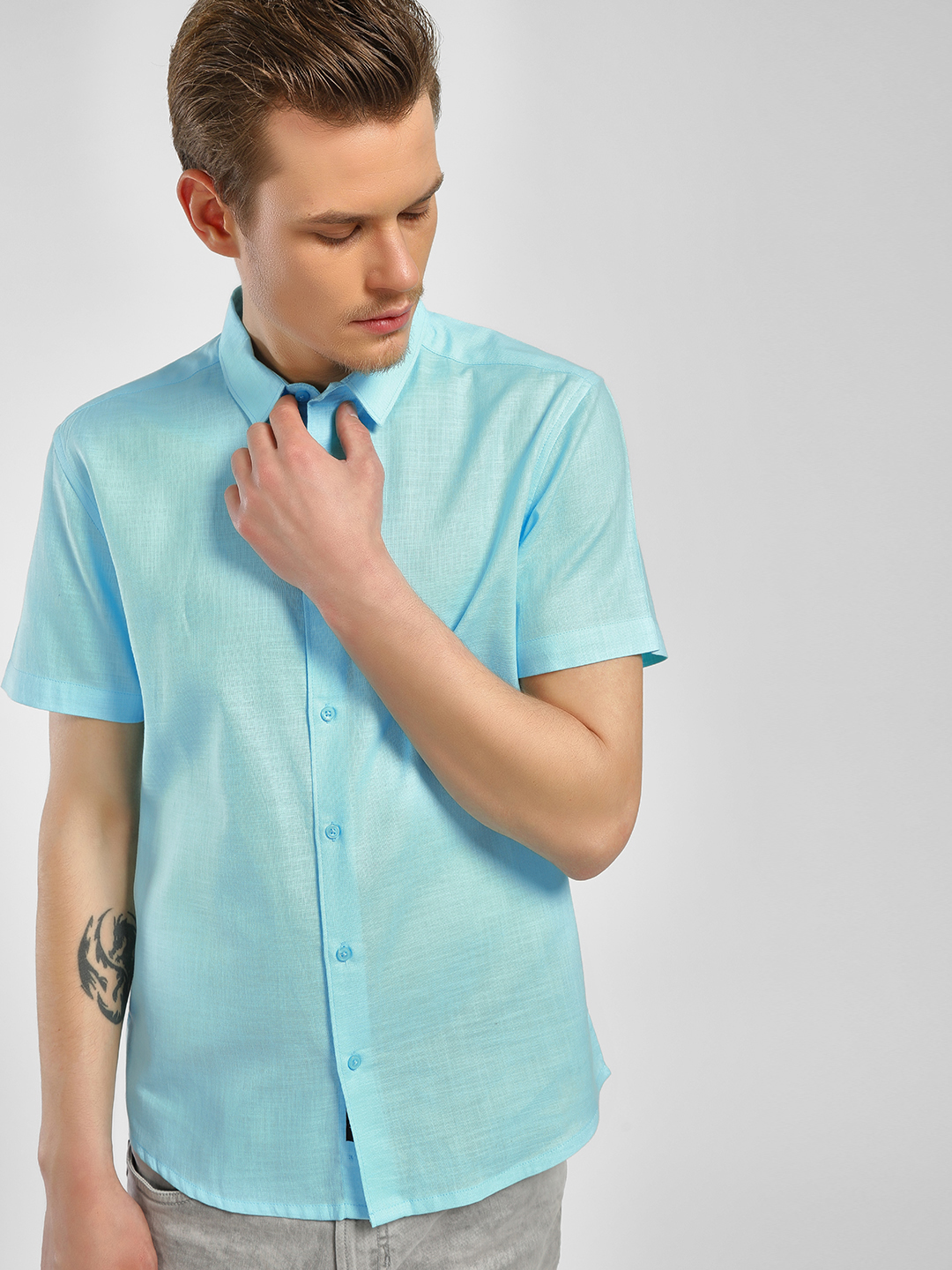 KOOVS Blue Linen Blend Slim Shirt 1