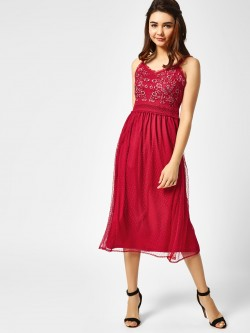 Cover Story Embroidered Yoke Midi Dress