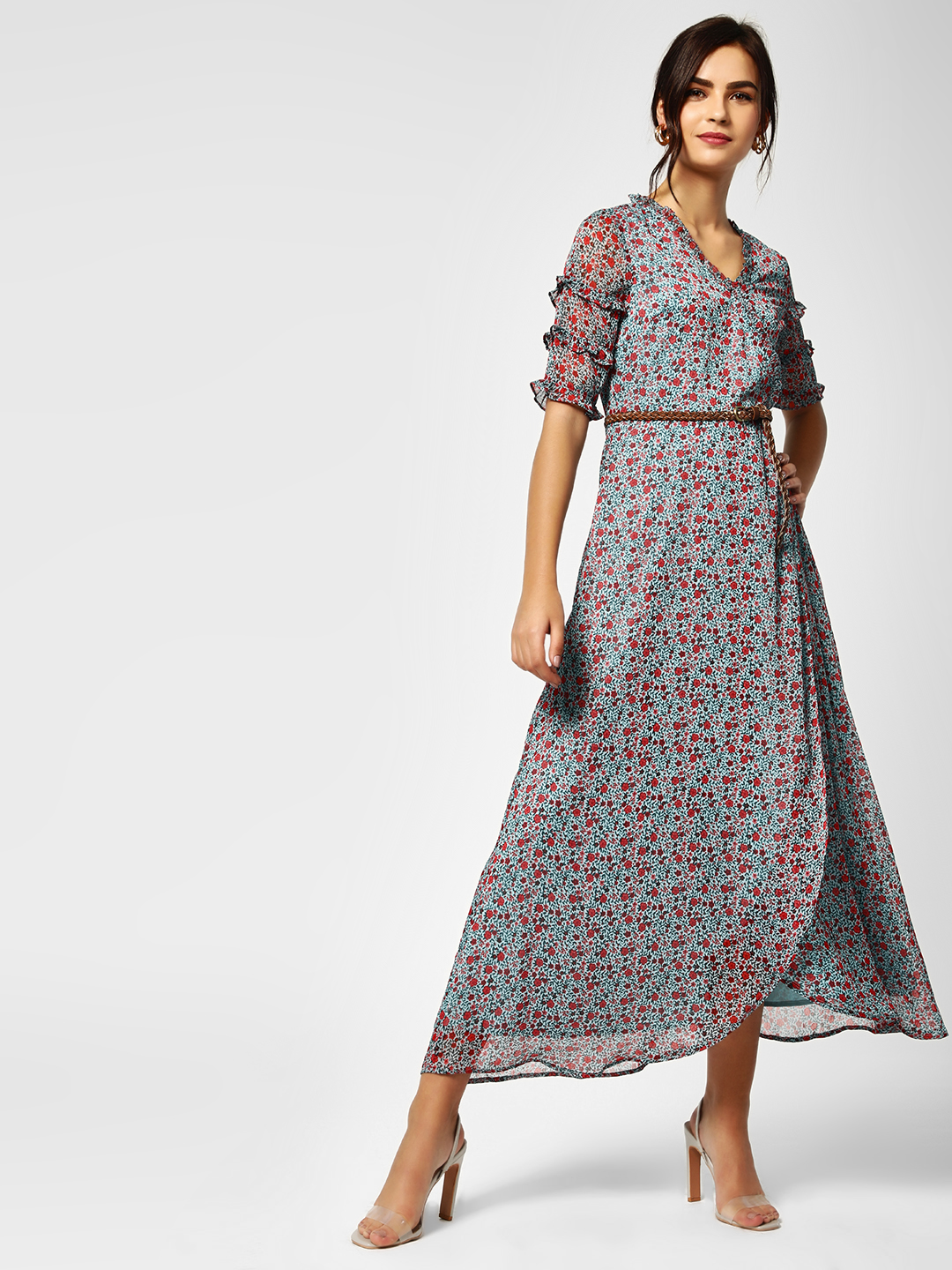 Cover Story Print Overlap Floral Maxi Dress 1