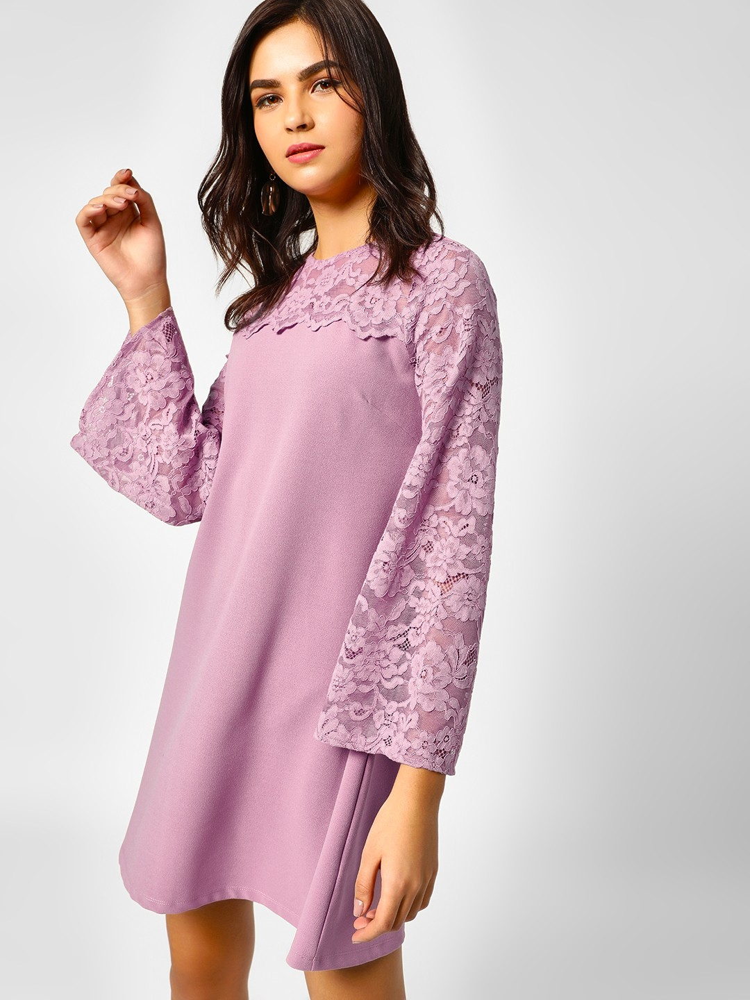 Cover Story Lilac Lace Detail Shift Dress 1