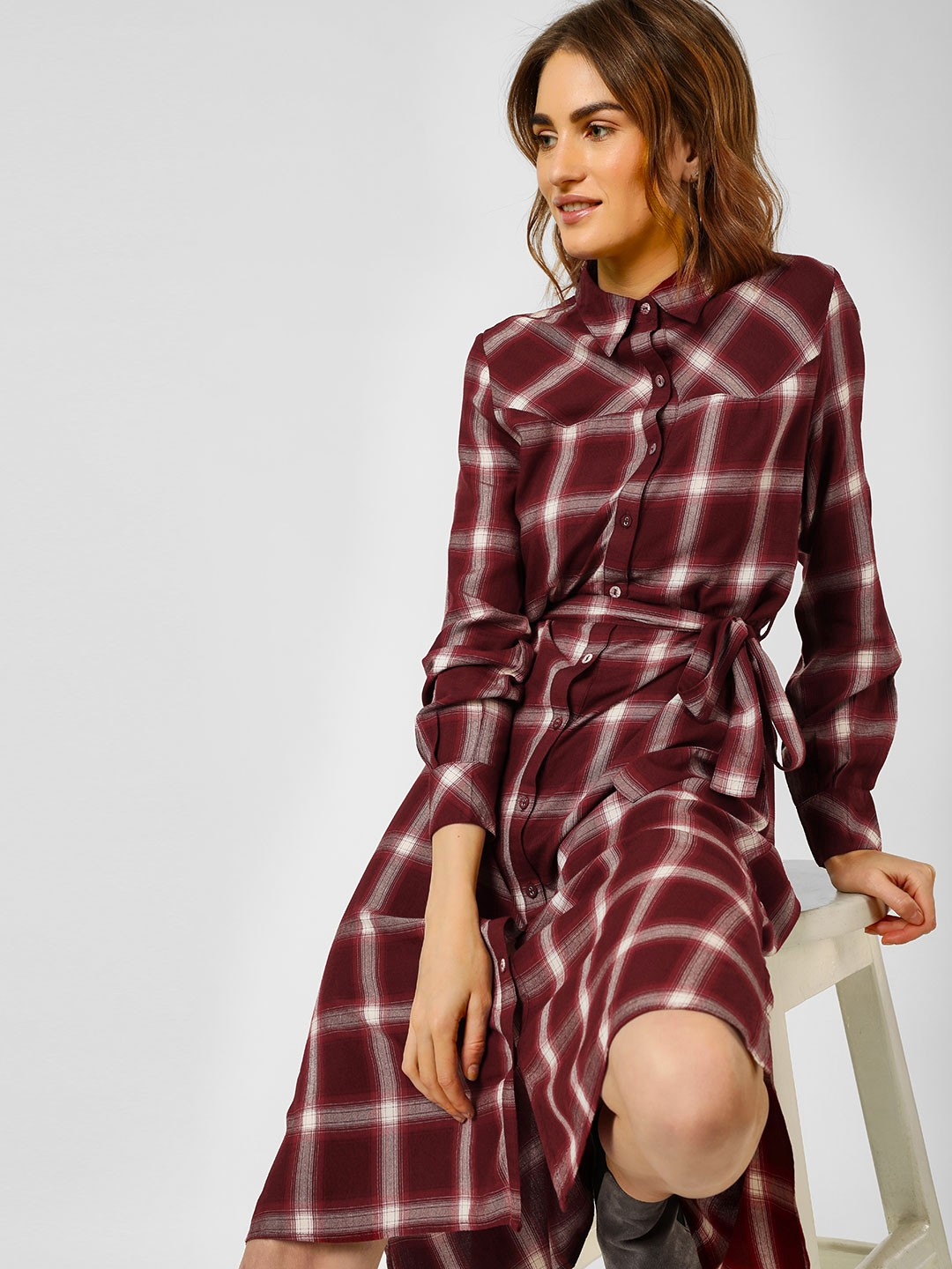 Cover Story Maroon Check Print Shirt Dress 1