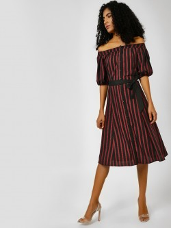 Cover Story Stripe Belted Off-Shoulder Dress