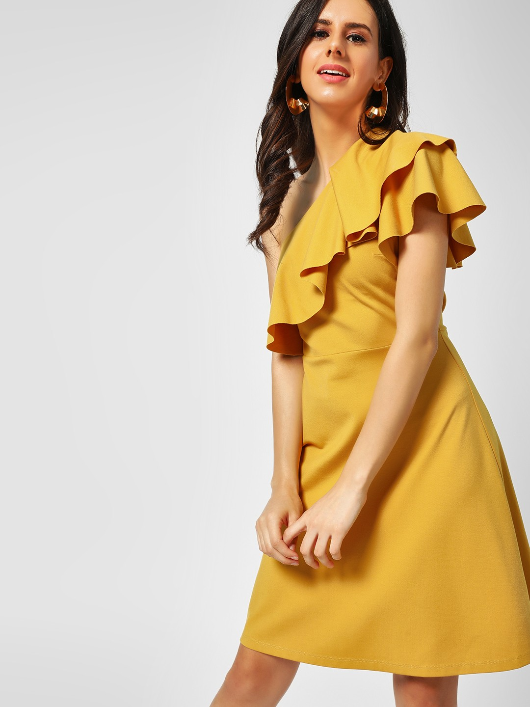 Cover Story Mustard One Shoulder Skater Dress 1