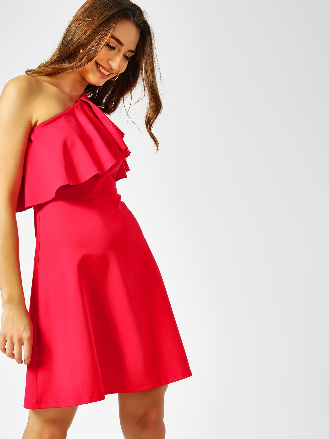 Cover Story Red One Shoulder Skater Dress 1