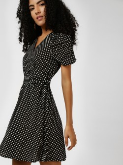 Cover Story Polka Dot Wrap Skater Dress