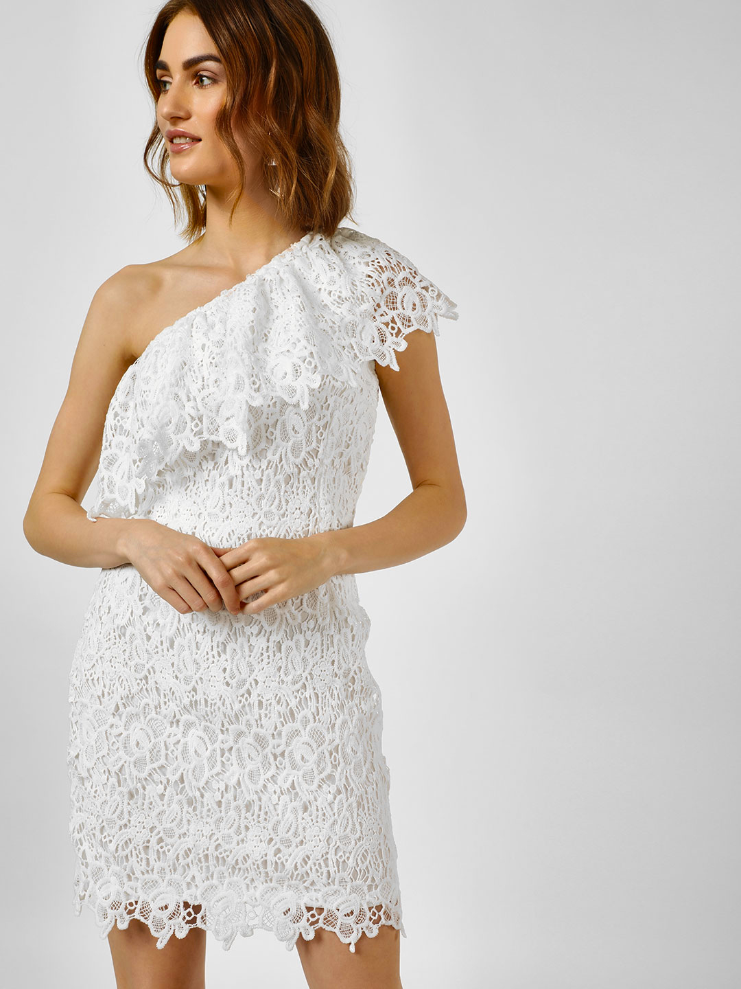 Cover Story White One Shoulder Lace Shift Dress 1