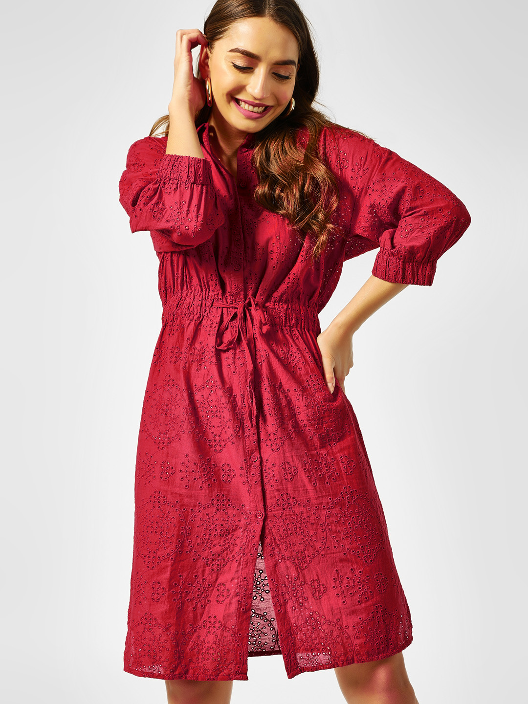 Cover Story Rust Broderie Detail Shirt Dress 1