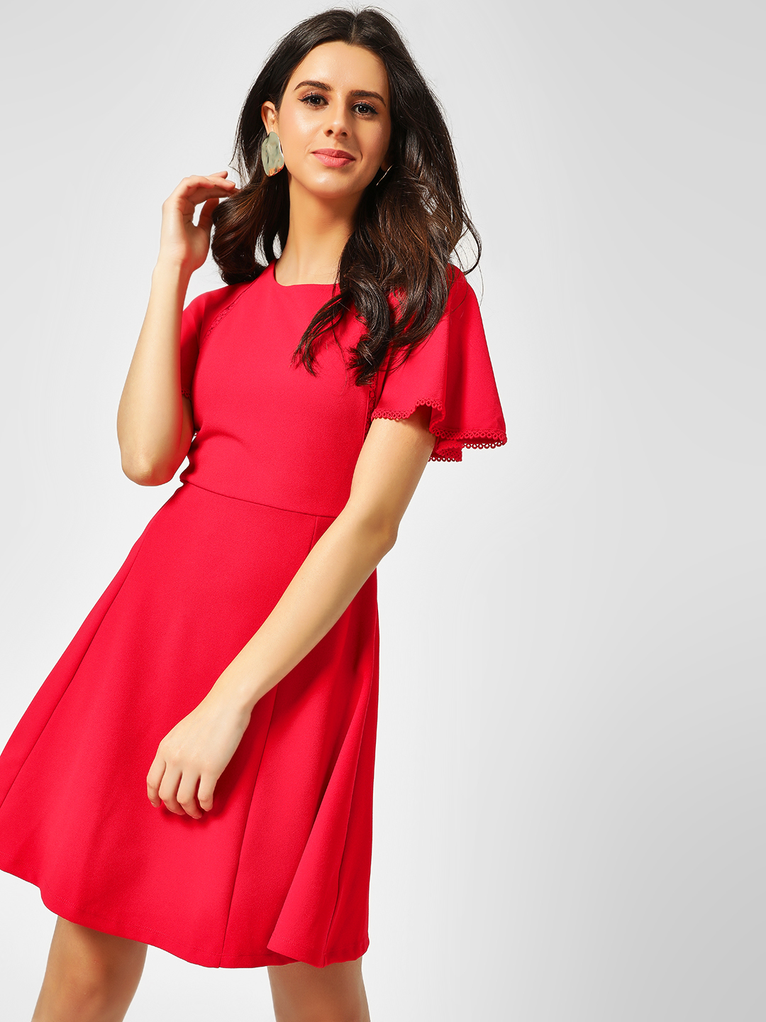 Cover Story Red Lace Embroidered Skater Dress 1