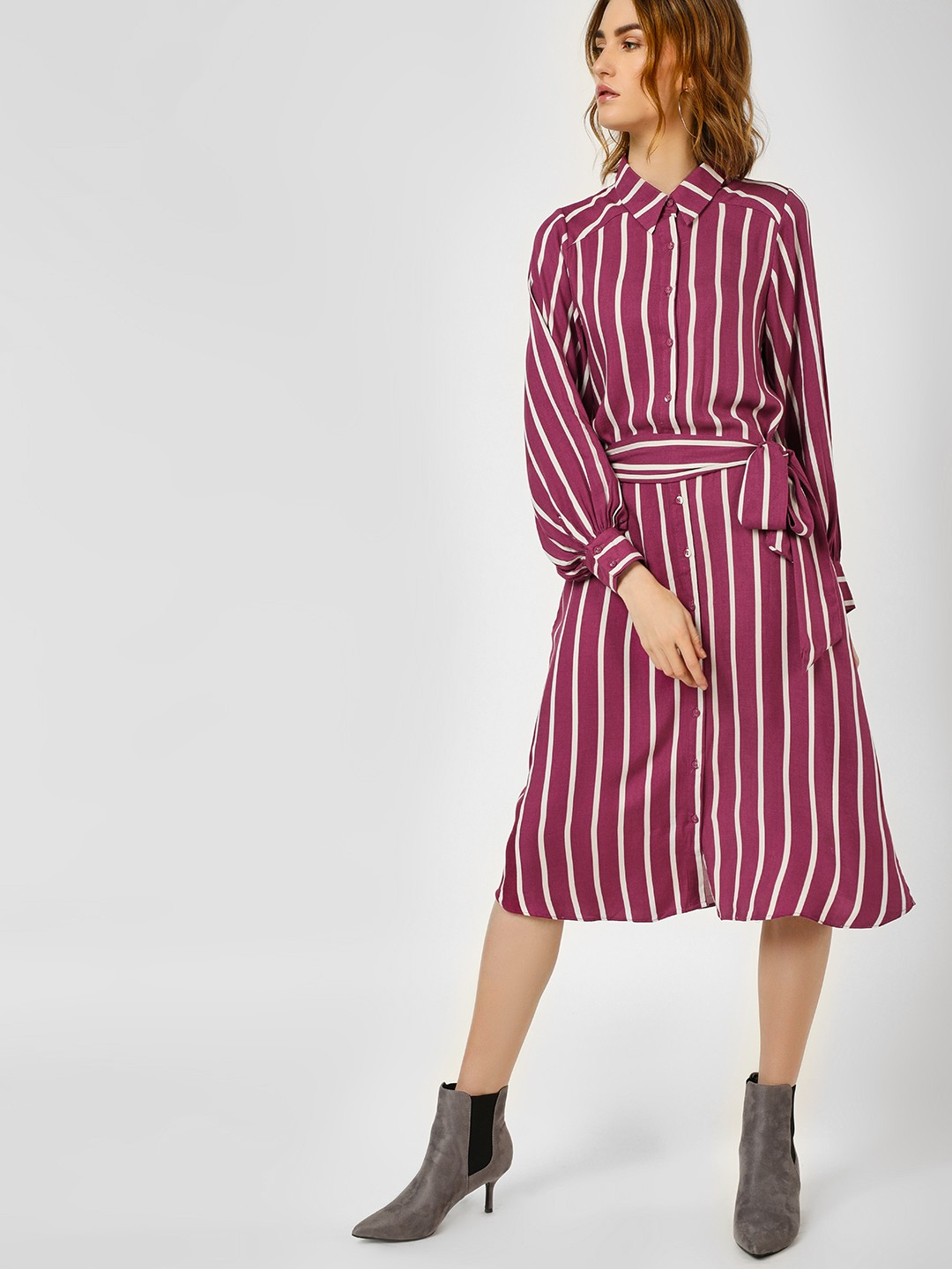 Cover Story STRIPE Stripe Belted Shirt Dress 1