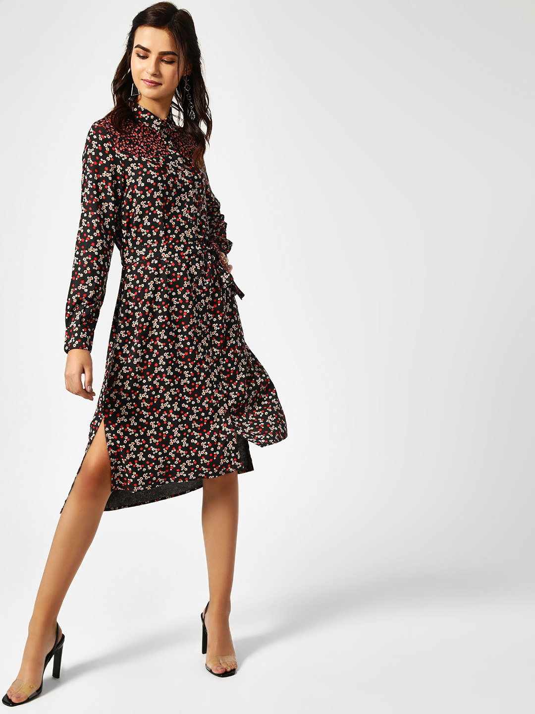 Cover Story Black Contrast Floral Yoke Shirt Dress 1