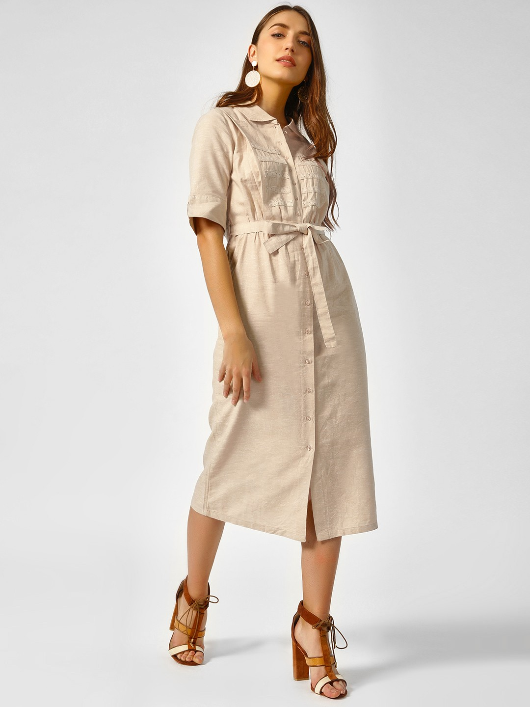 Cover Story Beige Lace Detail Midi Dress 1