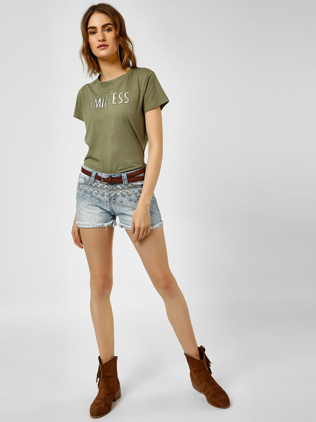 Cover Story Blue Casual Embroidered Shorts 1