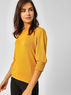 Cover Story Puffed Sleeve Ribbed Pullover