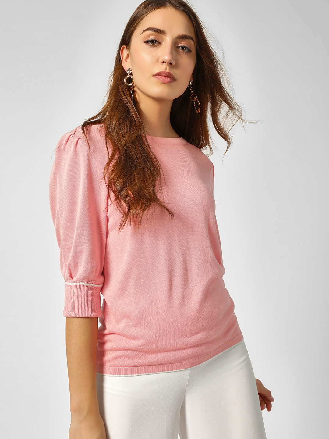 Cover Story Pink Puffed Sleeve Ribbed Pullover 1
