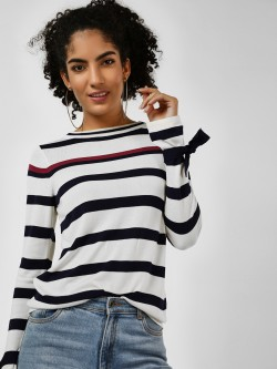 Cover Story Horizontal Striped Ribbed Pullover