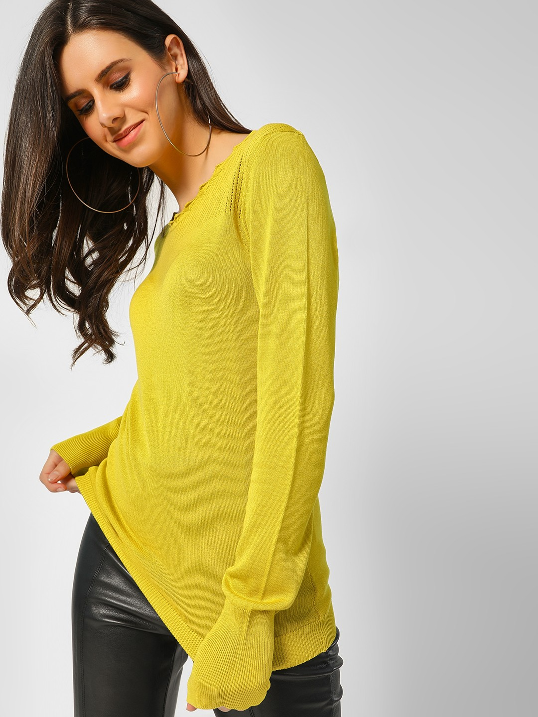 Cover Story Lime Green Scalloped Neck Ribbed Pullover 1