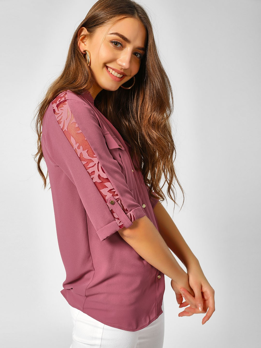Cover Story PLUM Casual Lace Detail Shirt 1
