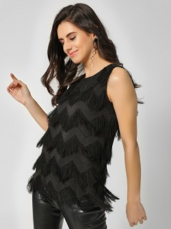 Cover Story Zig Zag Frayed Sleeveless Top