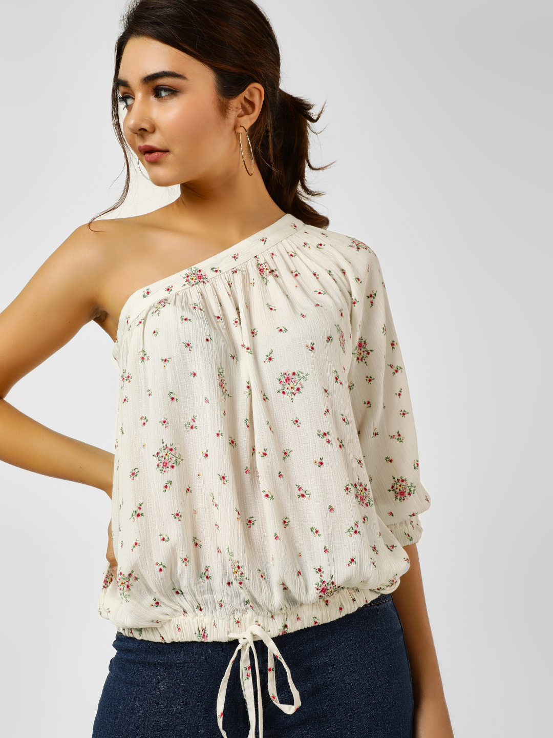 Cover Story Print Embroidered Flared Blouse 1