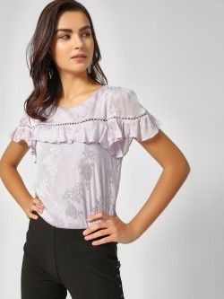 Cover Story Floral Print Lace Detail Top