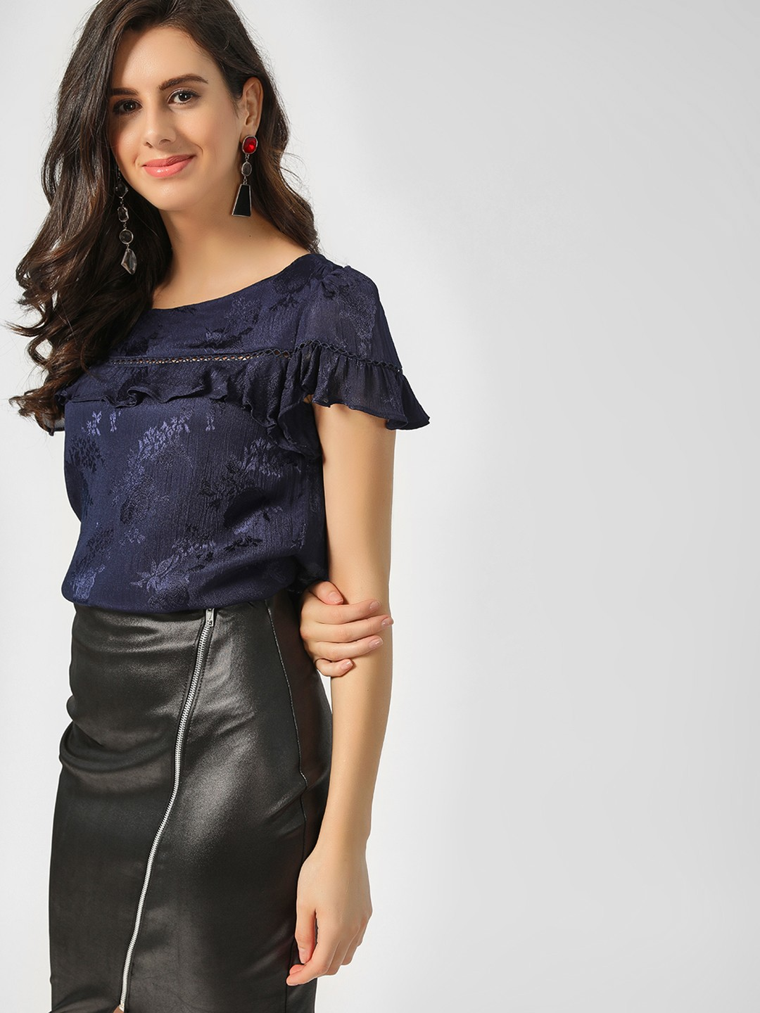 Cover Story Navy Floral Print Lace Detail Top 1