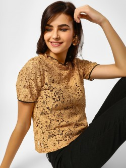 Cover Story Contrast Border Lace Blouse