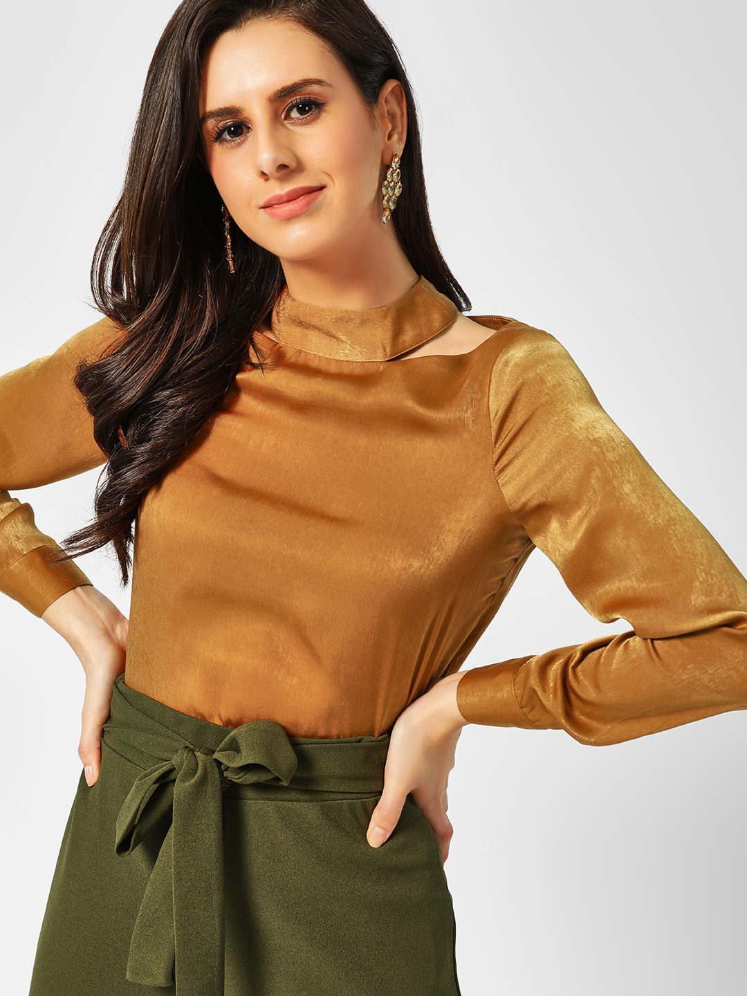 Cover Story Gold Cut-Out Choker Neck Blouse 1