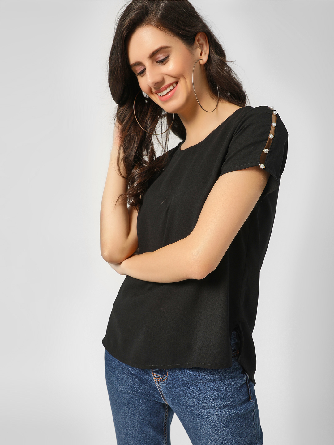 Cover Story Black Pearl Embellished Short Sleeve Top 1