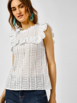 Cover Story Broderie Sleeveless Top