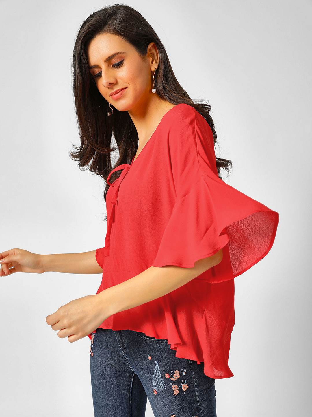 Cover Story Red Asymmetric Hem Front Tie Up Top 1