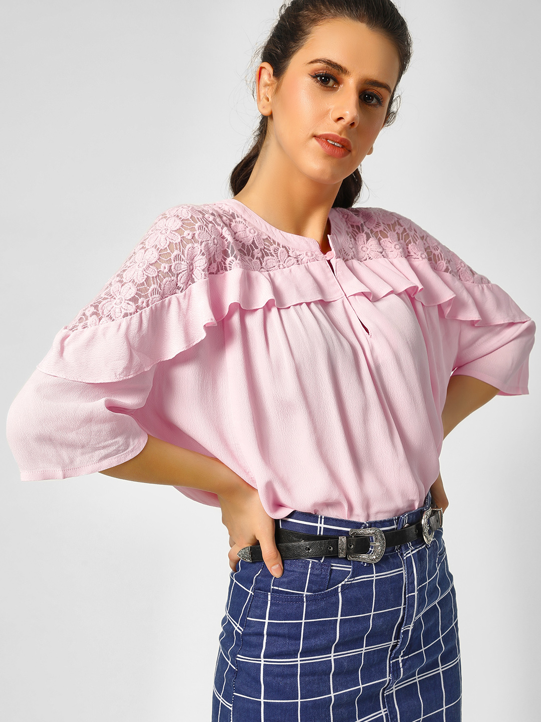 Cover Story Pink Floral Mesh Detail Blouse 1