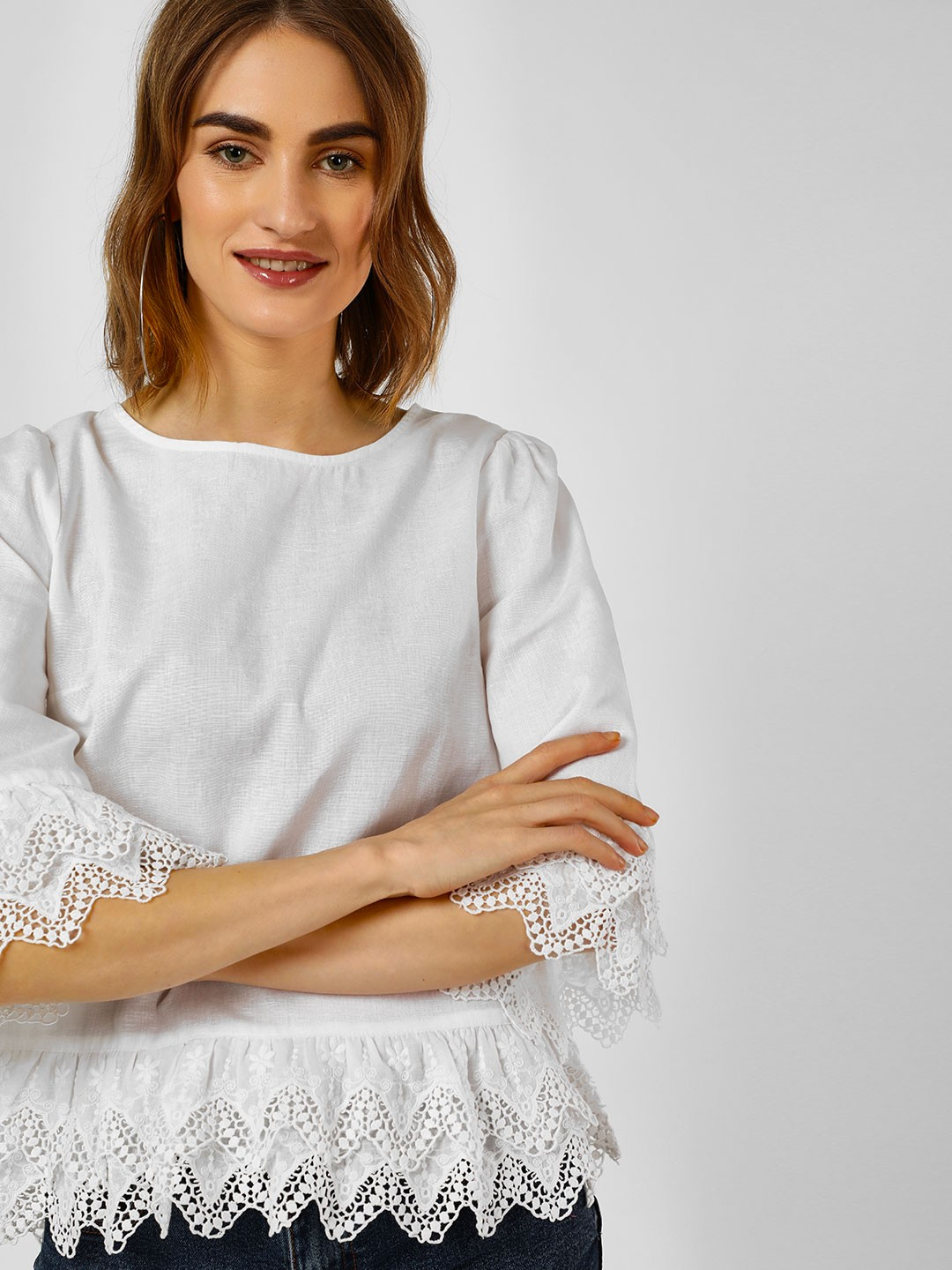 Cover Story White Broderie Long Sleeves Top 1