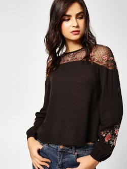 Cover Story Floral Embroidered Mesh Top
