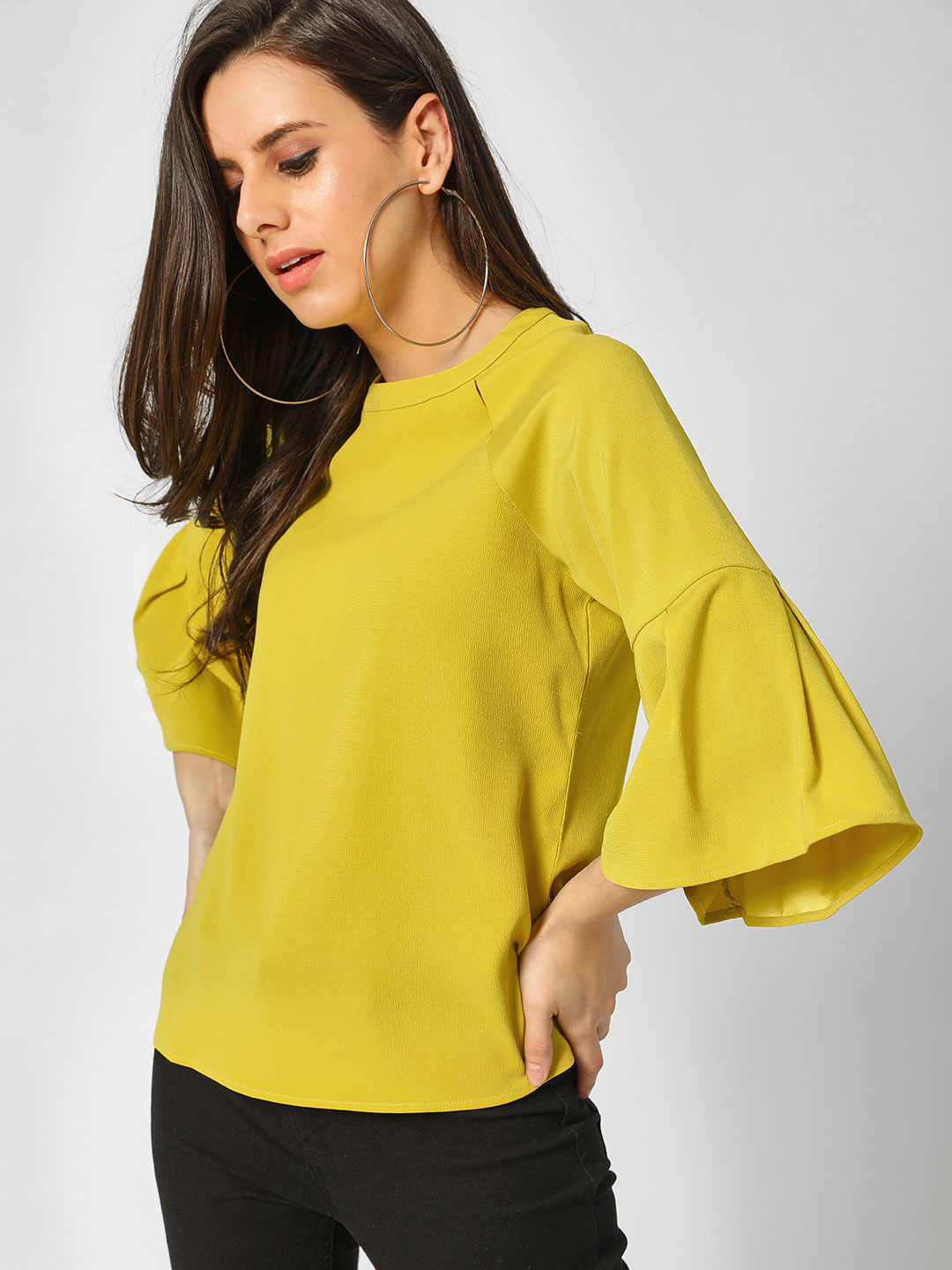 Cover Story LIME Flared Long Sleeves Top 1